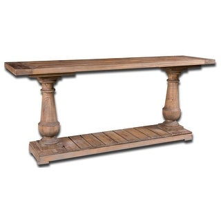 """71"""" Carlough Rustic Stone Gray Salvaged Fir Wood Console Sofa Table"""