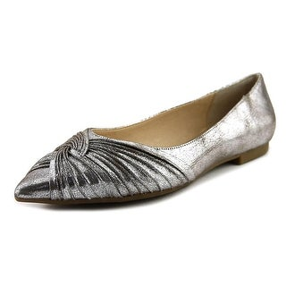 Nina Klaire Women Round Toe Leather Silver Ballet Flats