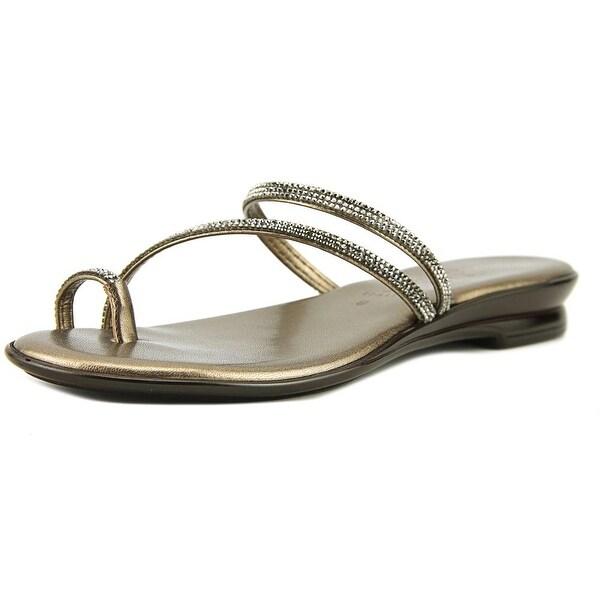 Italian Shoe Makers 5694S7 Women Open Toe Synthetic Gold Slides Sandal