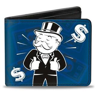 Mr. Monopoly Thumbs Up Pose Dollar Signs Money Blues White Black Bi Fold Bi-Fold Wallet - One Size Fits most