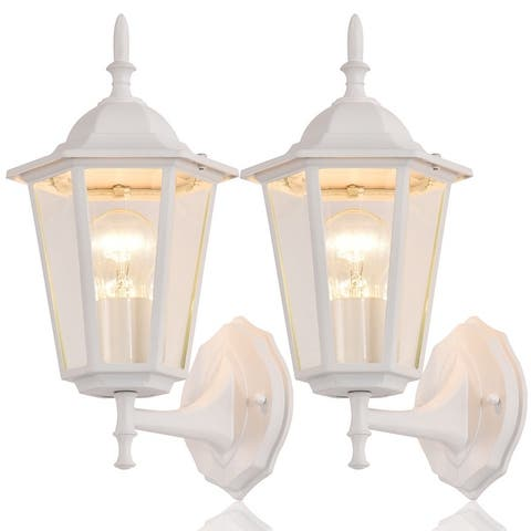 2-Pack Die-cast Aluminum Outdoor Wall Sconce with Clear Glass Shade