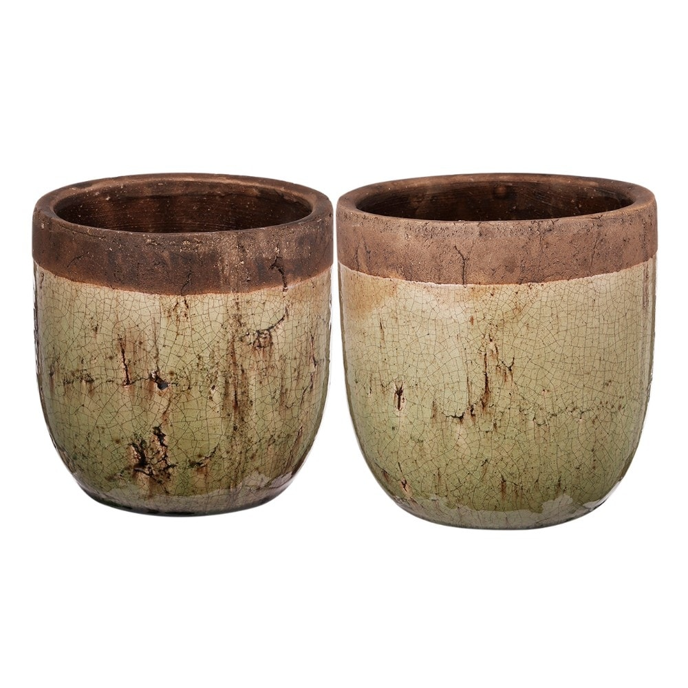 Ceramic Two-Tone Earthen Pot With Round Bottom, Green and Brown, Set of 2