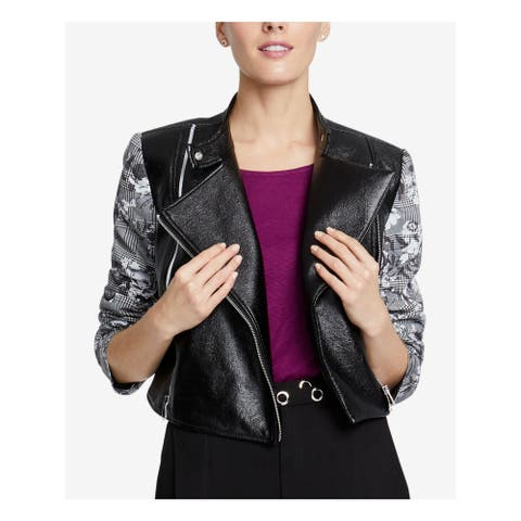 RACHEL ROY Womens Black Faux Leather Plaid Motorcycle Jacket Size S