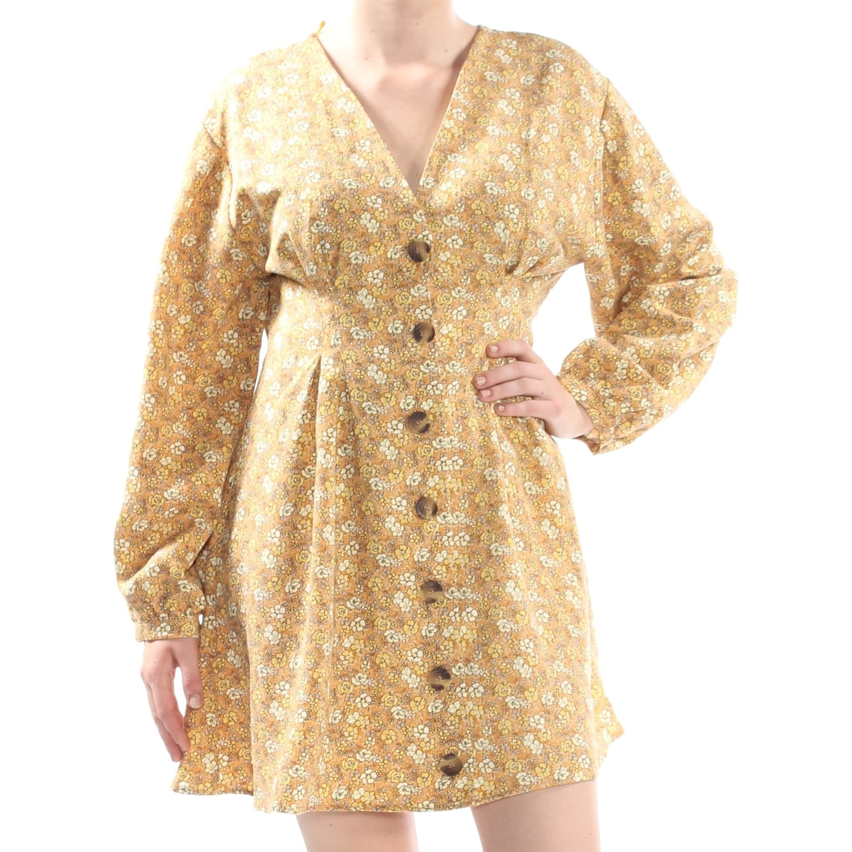 Shop Free People Womens Yellow Button Up Front Floral Print Long