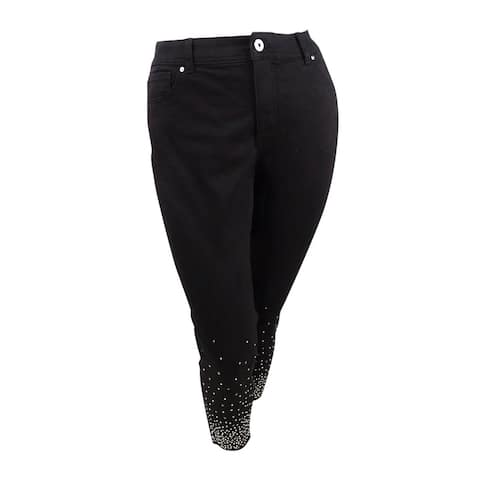 INC International Concepts Women's Plus Size Embellished Ankle Skinny Jeans