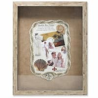 Weathered Front Hinged Shadow Box Frame With Burlap Display Board