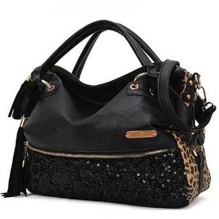 Leather Sequins Leopard Satchel Tote Purse Shoulder Bag Handbag