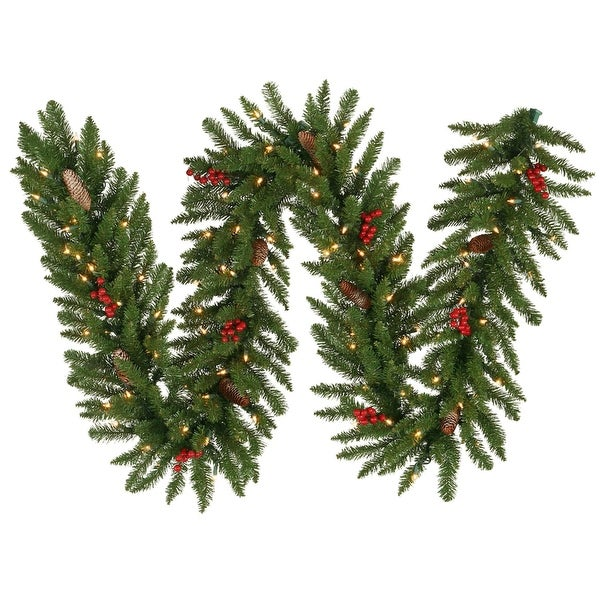 "9' x 14"" Pre-Lit Frosted Edina Fir Christmas Garland - Clear Dura Lights"