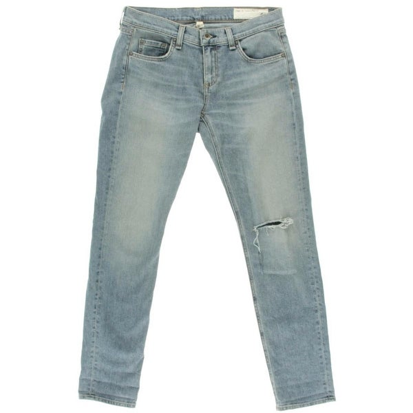 Rag & Bone Womens Skinny Jeans Denim Destroyed