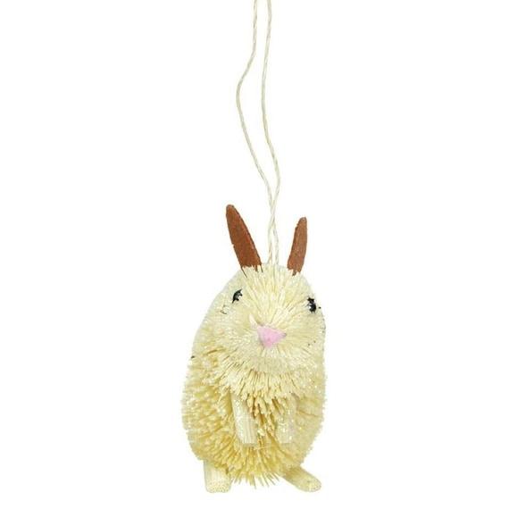 "3"" Storybook Garden Bristled Sandy Brown Bunny Rabbit Christmas Figure Ornament"