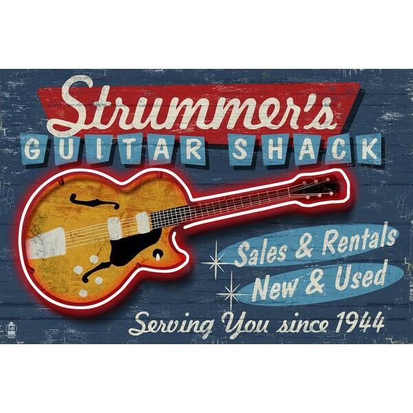 Guitar Shop - Vintage Sign - Lantern Press Artwork (Acrylic Serving Tray)