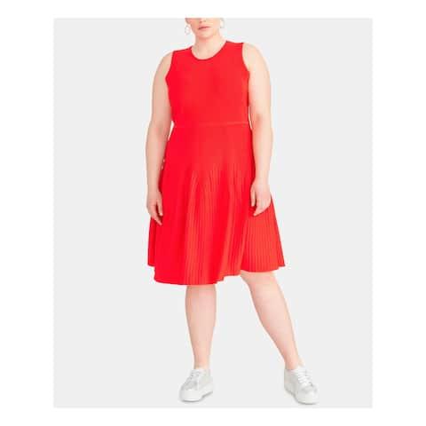 RACHEL ROY Womens Red Sleeveless Midi Fit + Flare Dress Size 0X