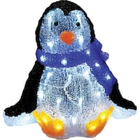 "11.5"" Lighted Commercial Grade Acrylic Sitting Baby Penguin Christmas Display Decoration"