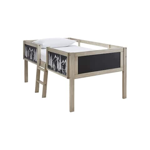 Wrenalyn Natural Wood Twin Loft Bed Frame with Chalkboard Panels