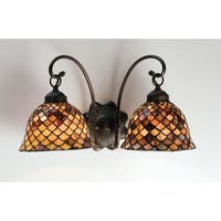"""Meyda Tiffany 18632 Fishscale 18"""" Wide 3-Light Wall Sconce with Stained Glass Shade - Mahogany Bronze"""