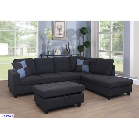 3-pc. Right-facing Black Linen Sectional Sofa Set (125B)