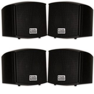 Acoustic Audio AA321B Mountable Indoor Speakers 800 Watts Black 2 Pair Pack AA321B-2Pr