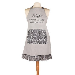 "27.5"" Embroidered Gray French Cotton Chefs Apron with Vintage Damask Ruffle Trim"
