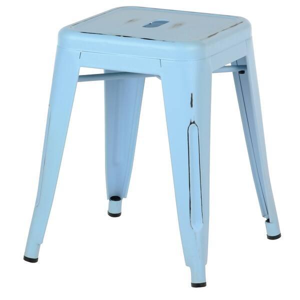 Awe Inspiring Metal Industrial 18 Inch Stool Antique Blue Distressed Inzonedesignstudio Interior Chair Design Inzonedesignstudiocom