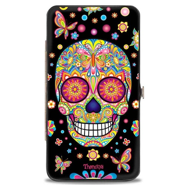 Mariposa Calaveras Butterflies Flowers Black Multi Color Hinged Wallet - One Size Fits most