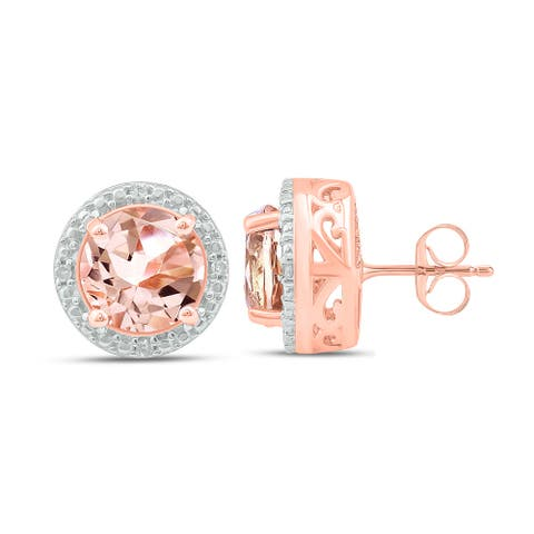 Cali Trove 925 Sterling Silver with diamond accent and Morganite Fashion Earring.