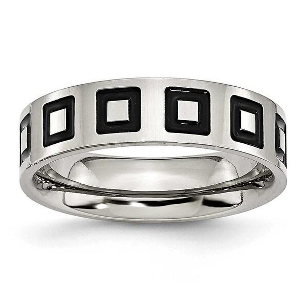 Chisel Black Enamel Brushed Flat Stainless Steel Ring (6.0 mm)