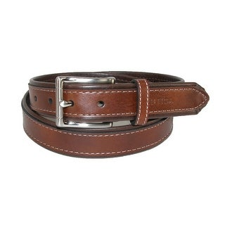 Nautica Boys' Contrast Brown 1 Inch Tubular Belt