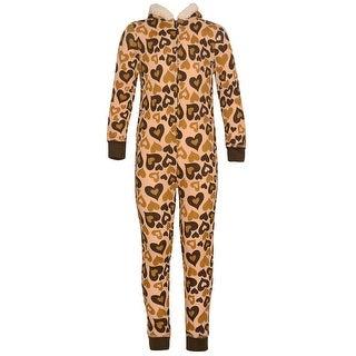 Girls Brown Tan Heart Print Zipper Pom-Pom Hooded Sleeper Pajama 7/8
