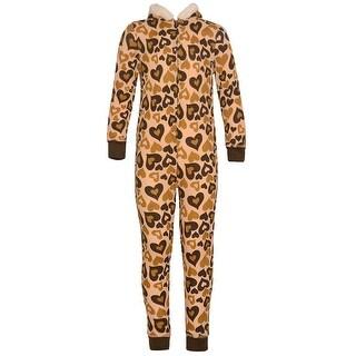 Little Girls Brown Tan Heart Print Zipper Pom-Pom Hooded Sleeper Pajama 5/6