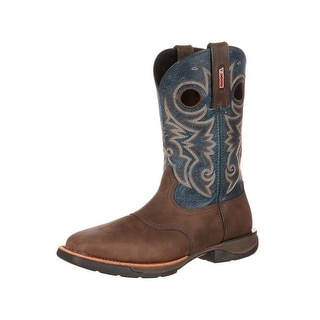Rocky Western Boots Mens Ride LT Steel Toe EH Leather Brown