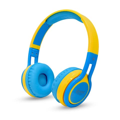 Contixo KB-2600 Kid Safe 85DB, Wireless Bluetooth LED Headphone with Volume Limiter, Microphone, and FM Radio (Blue & Yellow)