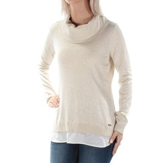 Womens Silver Long Sleeve Cowl Neck Casual Top Size XL