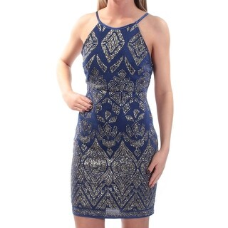 Womens Blue Geometric Sleeveless Above The Knee Body Con Party Dress Size: 3