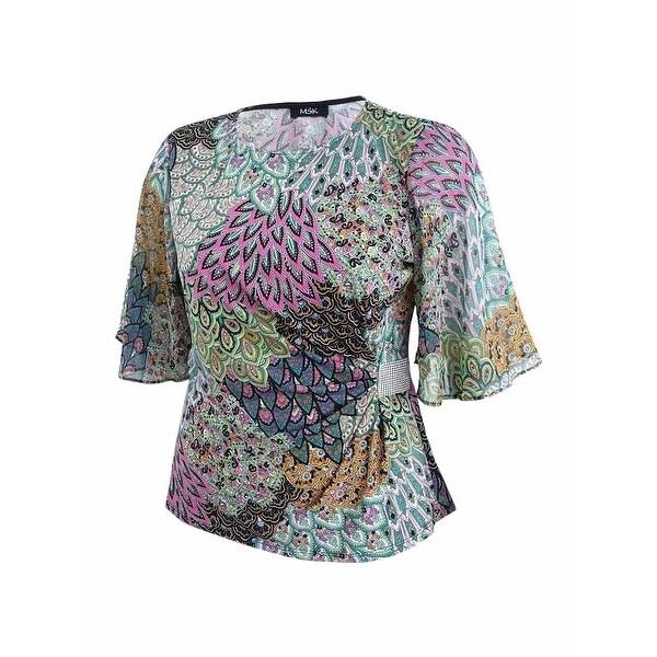 4cc65acfaa63 Shop MSK Women's Rhinestone Flutter-Sleeve Evening Blouse (XL, Apple Sky) -  apple sky - xL - Free Shipping On Orders Over $45 - Overstock - 25656142