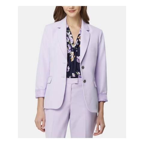 TAHARI Womens Purple Blazer Wear To Work Jacket Size 14