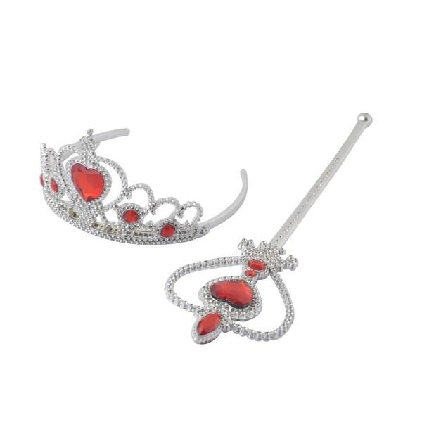 Princess Queen Accessories Tiara Crown Hair Band Magic Wand Silver Tone Red