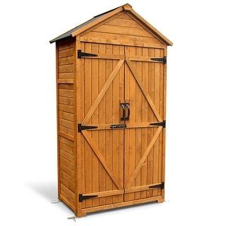 MCombo Outdoor Storage Cabinet Tool Sheds Backyard Garden Utility Wooden Organizer with Lockable Double Doors 1000