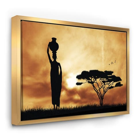 Designart 'African Woman and Lonely Tree' African Landscape Framed Canvas Art Print