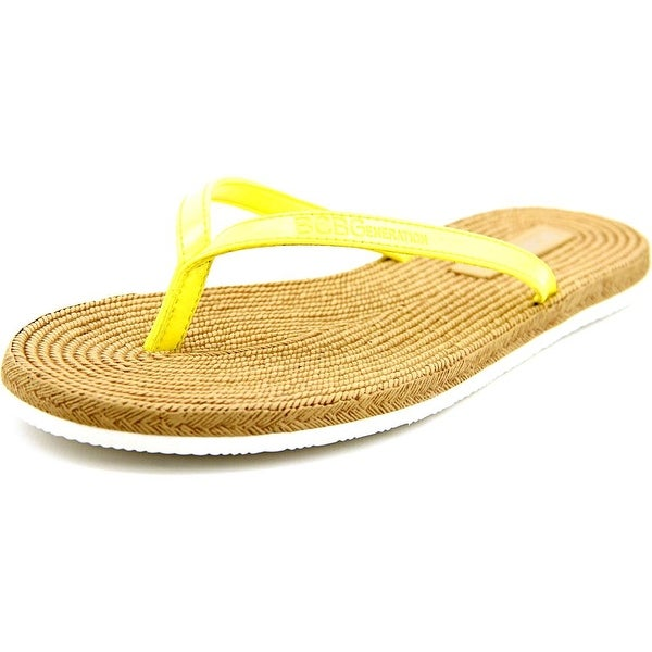BCBGeneration Yolo Women Open Toe Synthetic Yellow Thong Sandal