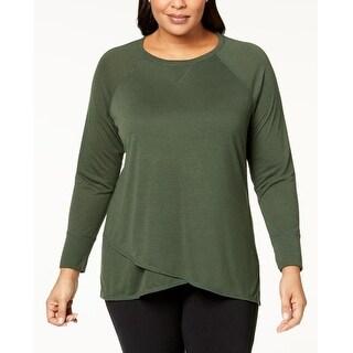 Calvin Klein Performance Women's Plus Size Cross-Over Hem Top Vine Size Extra Large - Green - XL