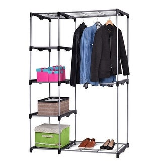 Costway Closet Organizer Storage Rack Portable Wardrobe Garment Hanger Double  Rod Shelf