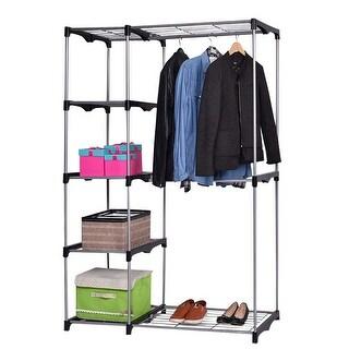 Costway Closet Organizer Storage Rack Portable Wardrobe Garment Hanger Double Rod Shelf