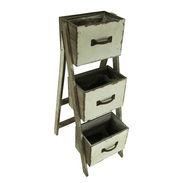 Rustic 3 Tier Folding Wood Drawer Planter Stand 3525 X 18 X 1175 Inches