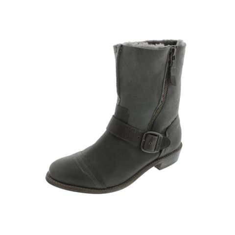 Koolaburra Womens Duarte Motorcycle Boots Leather/Suede Buckle