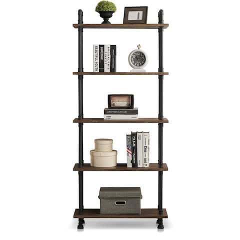 Ivinta Wood/ Metal Pipe Industrial Rustic Heavy Duty Bookcase