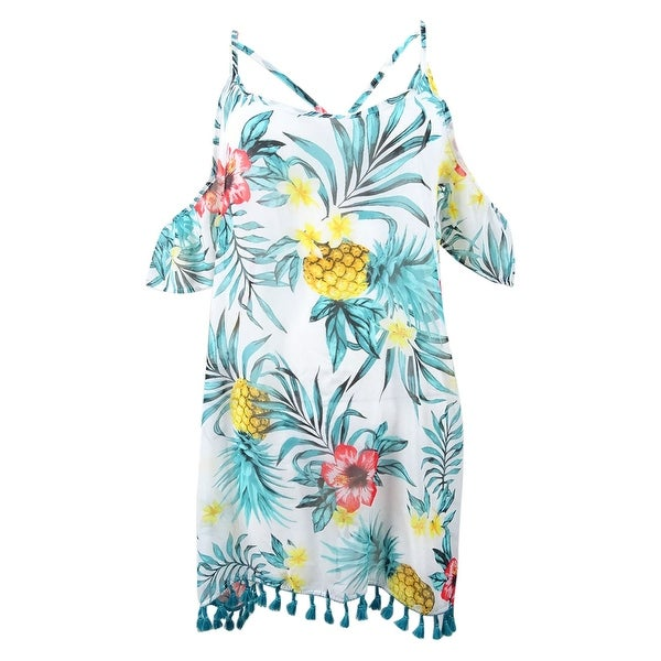 b738f2fb40 Shop Miken Juniors' Tropical Printed Cold-Shoulder Cover-Up - White/Teal -  On Sale - Free Shipping On Orders Over $45 - Overstock - 27665101