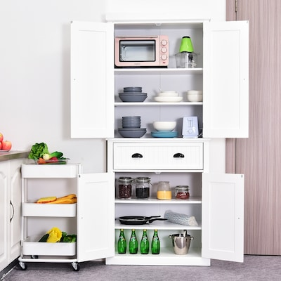 Well organized white kitchen and pantry storage cabinet available online for an extra 15% off at Overstock