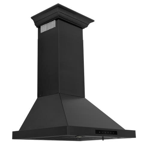 ZLINE Convertible Vent Wall Mount Range Hood in Black Stainless Steel