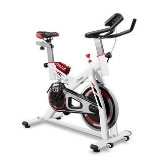 AKONZA Stationary Bike w/ Water Bottle Holder Cardio Exercise Bike Belt Driven Indoor Cycling Bike, White