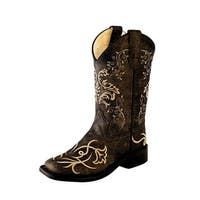Old West Cowboy Boots Boys Girl Kid Stitching Vintage Charcoal